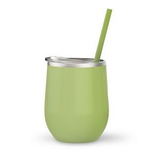 12oz. Matcha Vacuum Insulated Stemless Wine Glass w/Lid and Straw
