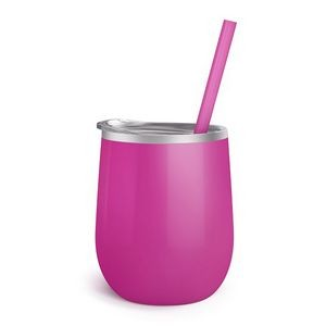12oz. Fuchsia Vacuum Insulated Stemless Wine Glass w/Lid and Straw