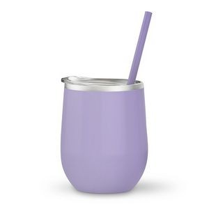 12oz. Lavender Vacuum Insulated Stemless Wine Glass w/Lid and Straw
