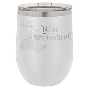 12oz. Matte White SS Vacuum Insulated Stemless Wine Glass w/Lid