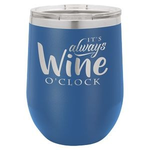 12oz. Matte Royal Blue SS Vacuum Insulated Stemless Wine Glass w/Lid