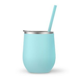 12oz. Seafoam Vacuum Insulated Stemless Wine Glass w/Lid and Straw