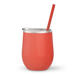 12oz. Coral Vacuum Insulated Stemless Wine Glass w/Lid and Straw