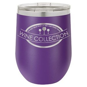 12oz. Matte Purple SS Vacuum Insulated Stemless Wine Glass w/Lid