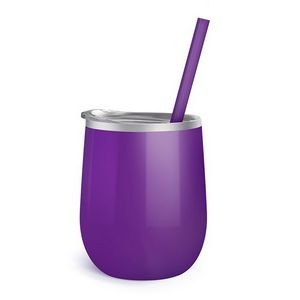 12oz. Purple Vacuum Insulated Stemless Wine Glass w/Lid and Straw